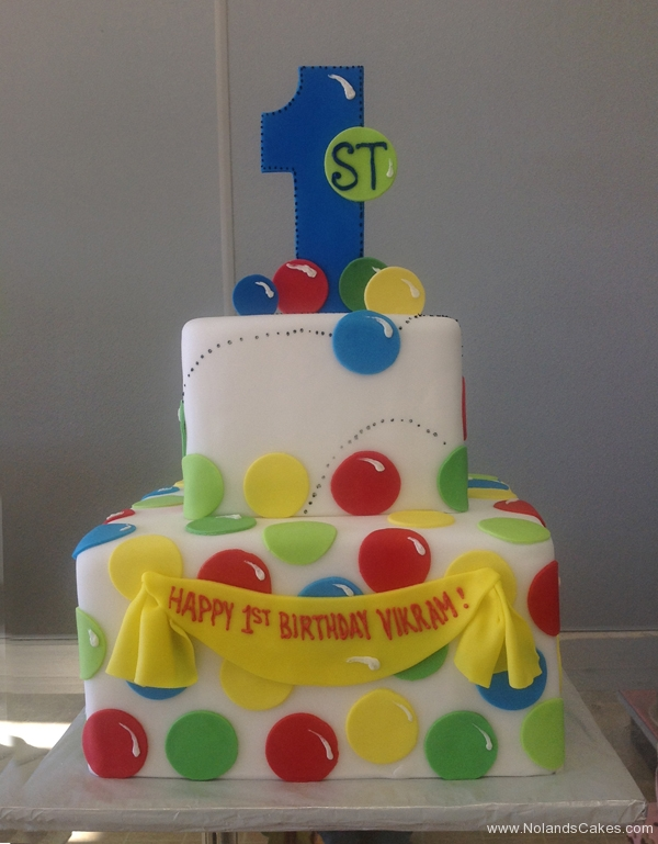118, 1st birthday, first birthday, bouncy balls, red, yellow, green, blue, tiered, birthday