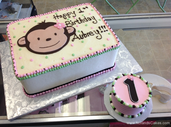 130, 1st birthday, first birthday, birthday, monkey, pink, white, green, smash cake