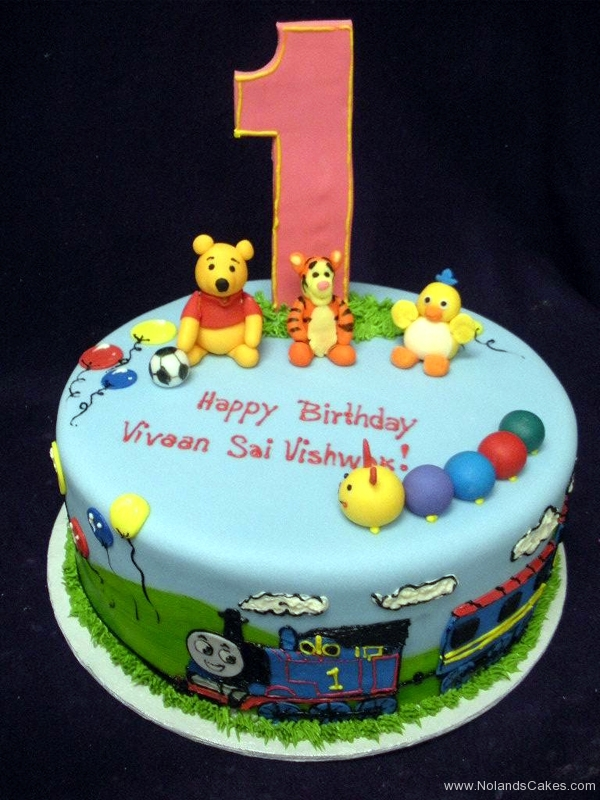 141, 1st birthday, first birthday, birthday, winnie the pooh, pooh, tigger, chick, thomas the tank engine, thomas, soccer, balloons, sky, clouds, caterpillar, blue, green
