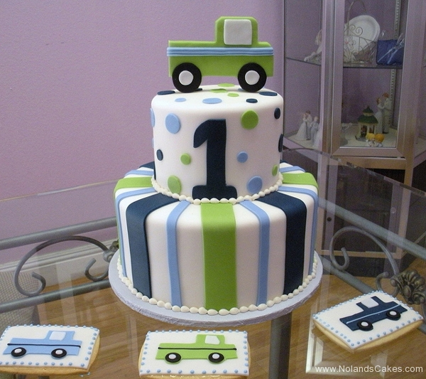 143, 1st birthday, first birthday, birthday, truck, blue, green, stripe, stripes, dots, polka dots, white