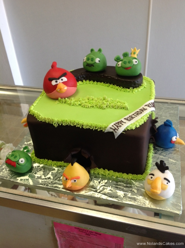 167, angry birds, red, green, piggies, grass, brown, birthday