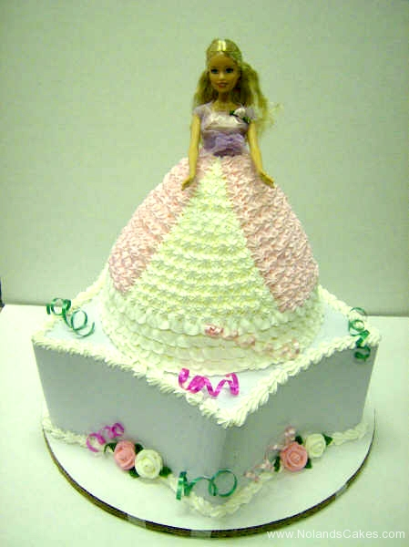 193, barbie, barbie cake, dress, birthday, pink, white, tiered, purple, carved