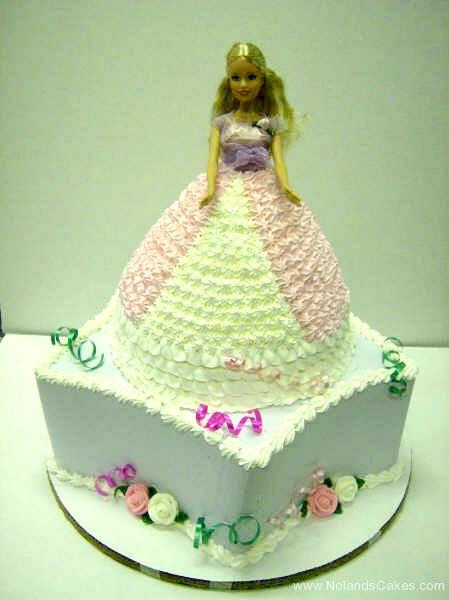 193, barbie, barbie cake, dress, birthday, pink, white, tiered, purple, carved