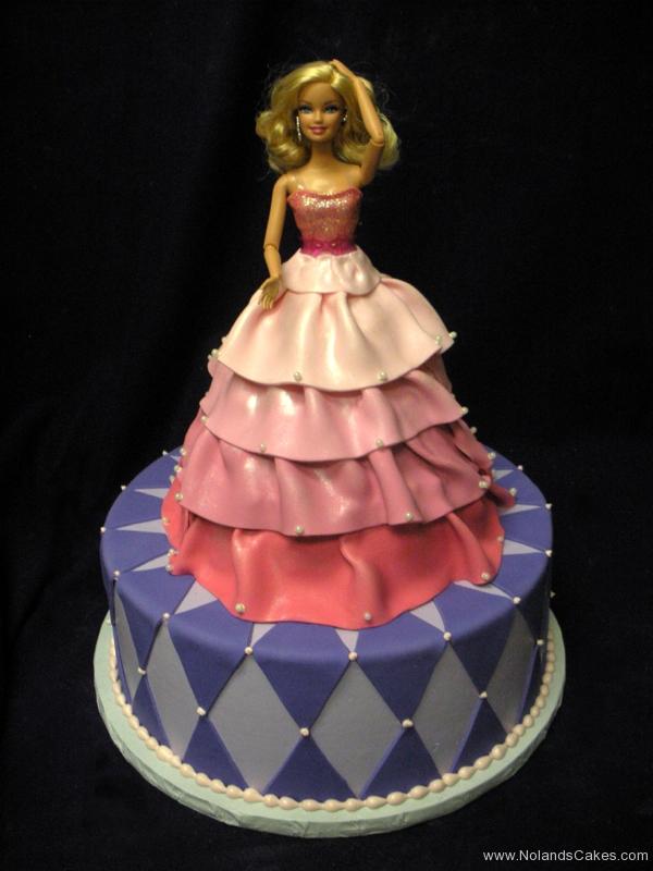 196, barbie, barbie cake, dress, pink, birthday, purple, diamonds, tiered, carved