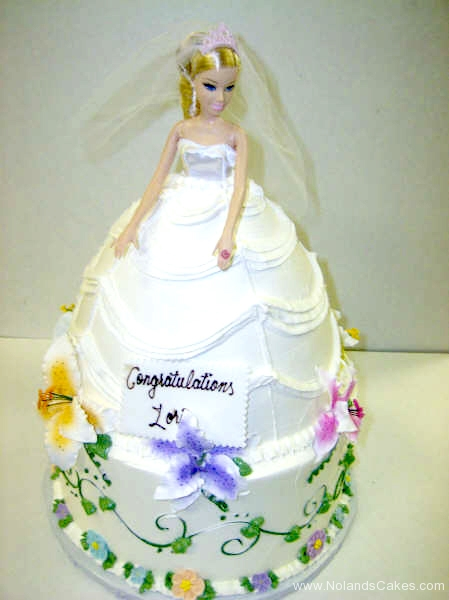 215, bride, bridal, bridal shower, dress, cake, barbie, barbie cake, flowers