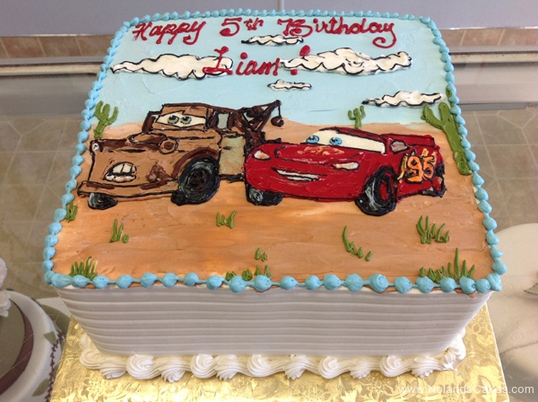 231, birthday, 5th birthday, fifth birthday, cars, movie, desert, red, brown, blue, white, lightning mcqueen,  mater