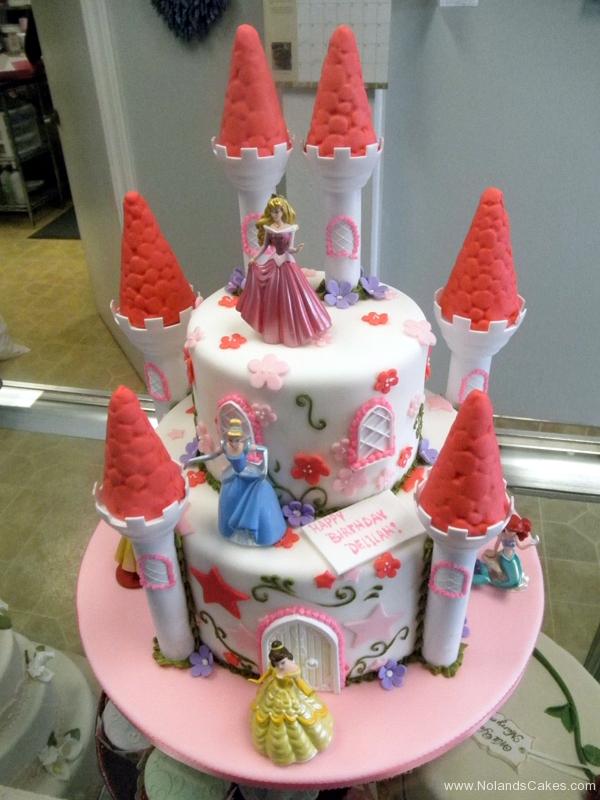 251, birthday, tiered princess, disney, castle, ariel, cinderella, jasmine, sleeping beauty, snow white, aurora, pink, red, flower, flowers, star, stars