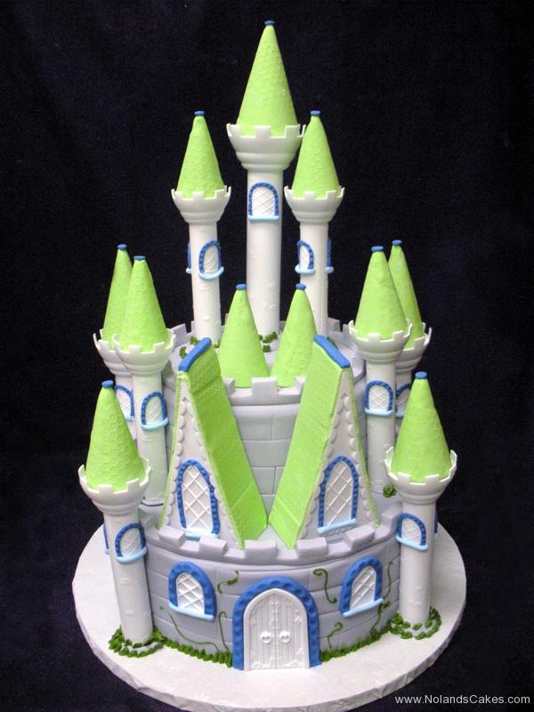 241, castle, tiered green, stone, blue, birthday, disney