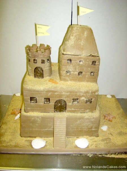 243, castle, tiered sand castle, sand, ocean, beach, brown