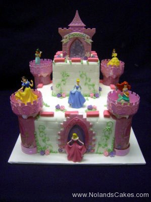 244, birthday, tiered princess, disney, castle, pink, purple, white, ariel, cinderella, jasmine, sleeping beauty, snow white, aurora, carved