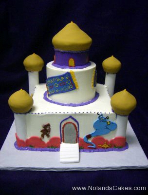 248, birthday, tiered castle, temple, taj mahal, aladdin, palace, disney, abu, genie, white, blue, gold, red, carpet, rug