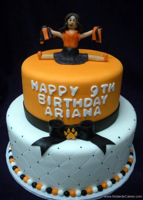 261, 9th birthday, tiered cheer, cheerleader, cheerleading, orange, bow, bows, paw print, black, white