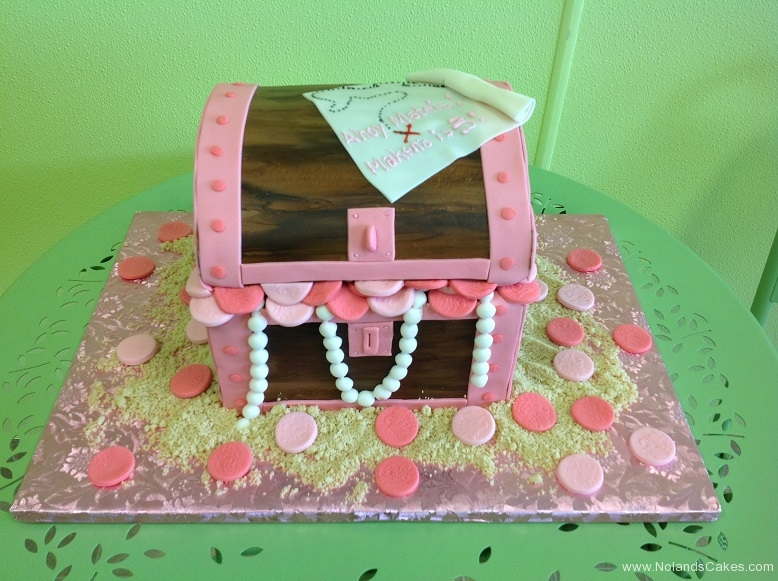 333, 3rd birthday, third birthday, treasure, treasure chest, gold, coins, pirate, pink, pearl, pearls, money, carved, map