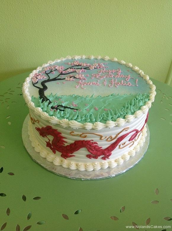 352, birthday, cherry blossom, tree, cherry tree, dragon, japanese dragon, green, red, pink, white