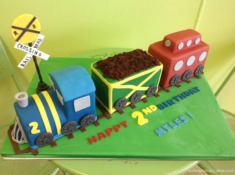 401, 2nd birthday, second birthday, train, grass, railroad, trains, blue, green, red, carved