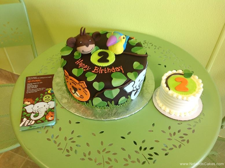 576, second birthday, 2nd birthday, jungle, animals, tiger, monkey, tucan, bird, elephant, leaf, leaves, brown, green, smash cake