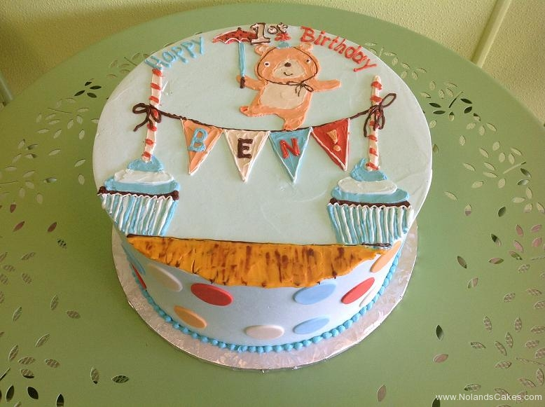 599, 1st birthday, first birthday, bear, teddy bear, teddy, blue, white, red, brown, dots, dot