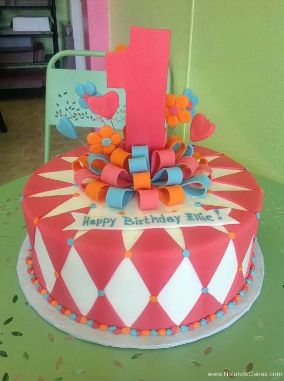 618, first birthday, 1st birthday, bow, diamond, heart, hearts, flower, flowers, orange, blue, pink, white