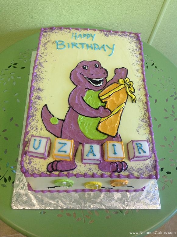 716, first birthday, 1st birthday, barney, dinosaur, purple, white, blocks