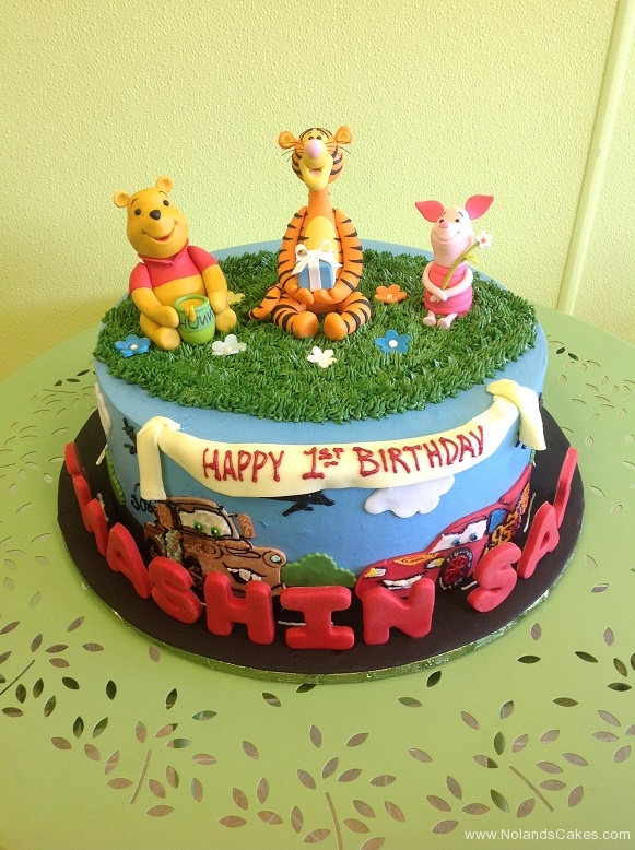 742, first birthday, 1st birthday, winnie the pooh, pooh, tigger, piglet, grass, cars, mater, lightning mcqueen, disney