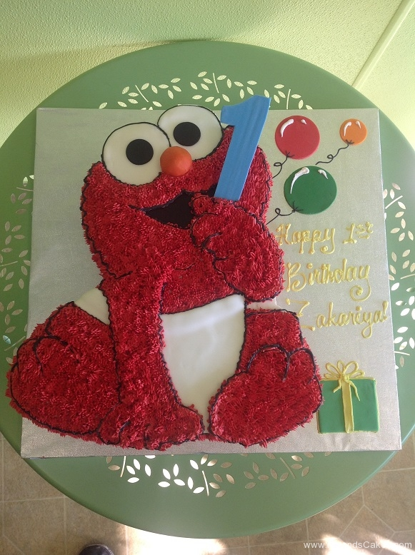 763, first birthday, 1st birthday, elmo, sesame street, red, white, balloon, balloons