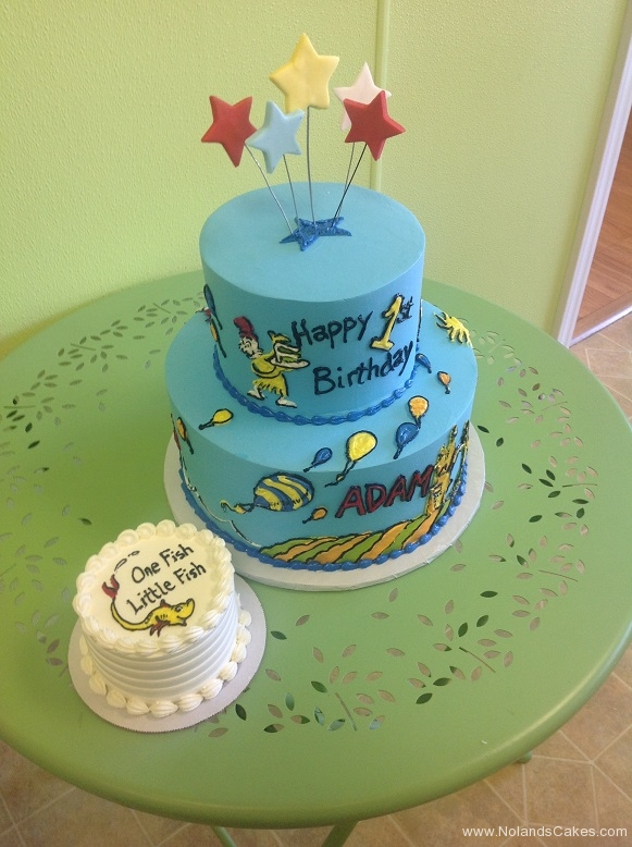 452, birthday, children birthday, first birthday, two tier, blue, dr seuss, sam i am, green eggs and ham, smash cake, first birthday, 1st birthday, one fish two fish, blue,