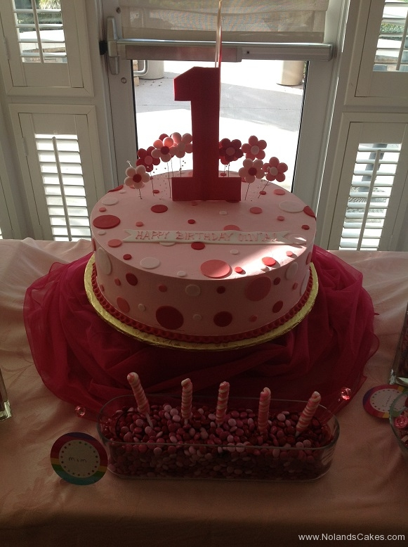 794, first birthday, 1st birthday, dots, polka dots, pink, red, white,