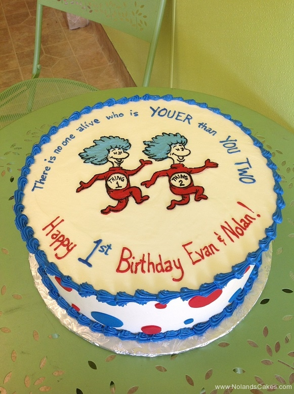 489, first birthday, 1st birthday, dr seuss, seuss, thing one and thing two, thing 1, thing 2, blue, white, red