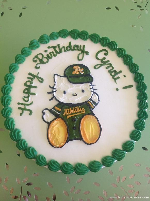 527, birthday, hello kitty, oakland a's, oakland athletics, baseball, green, yellow, gold, white