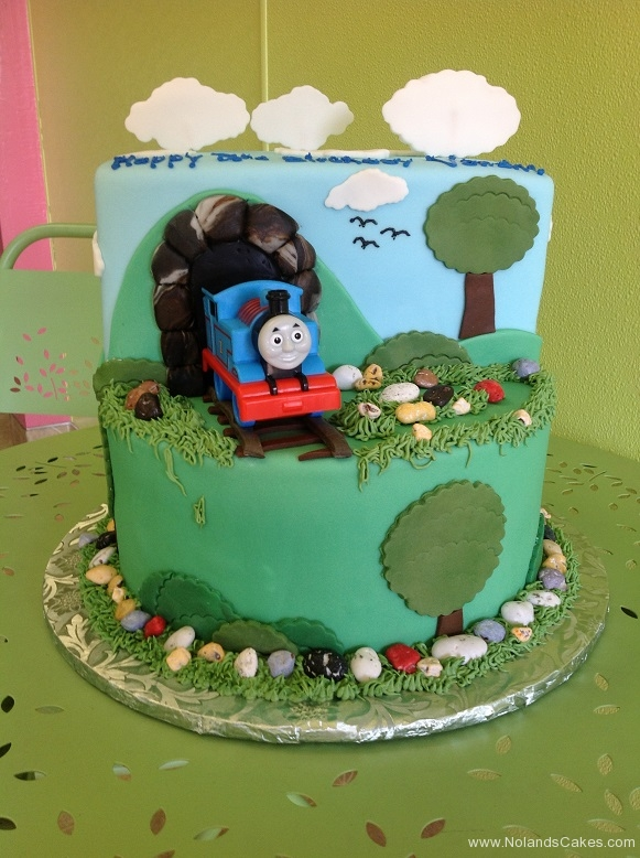 555, birthday, thomas the tank engine, thomas, train, cartoon, tree, trees, grass, green, carved, blue, red