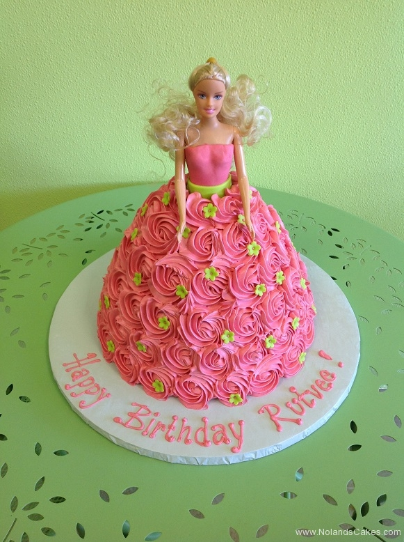 933, birthday, barbie, barbie cake, carved, pink, green, flower, flowers