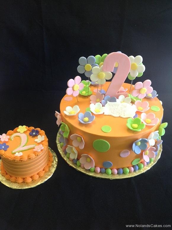 952, second birthday, 2nd birthday, orange, flower, flowers, pink, green, dots