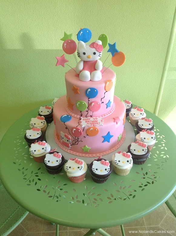 830, fourth birthday, 4th birthday, hello kitty, cupcakes, star, stars, balloon, balloons, pink