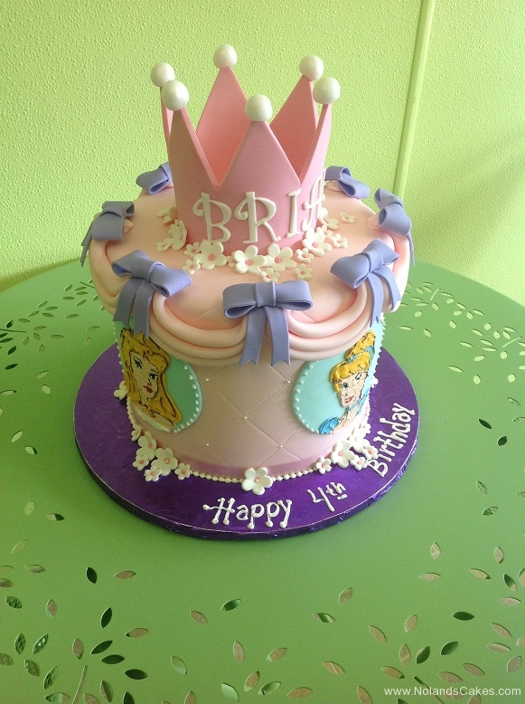 838, fourth birthday, 4th birthday, disney, disney princess, princess, cinderella, belle, aurora, bow, bows, crown, tiara, pink, disney, purple, blue