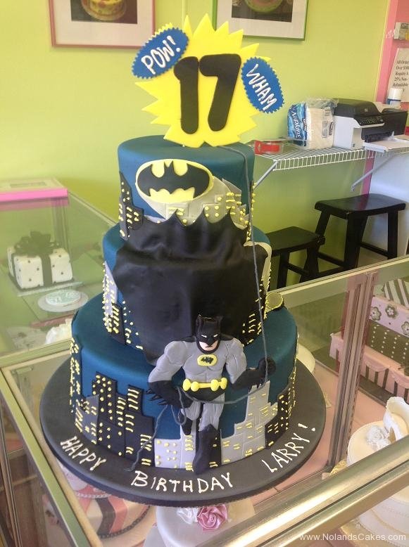 866, 17th birthday, seventeenth birthday, batman, dc, superhero, superheroes, gotham, skyline, tiered, blue, black, yellow
