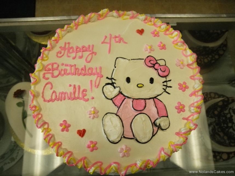 973, 4th birthday, fourth birthday, hello kitty, cat, star, flower, flowers, heart, hearts pink, yellow