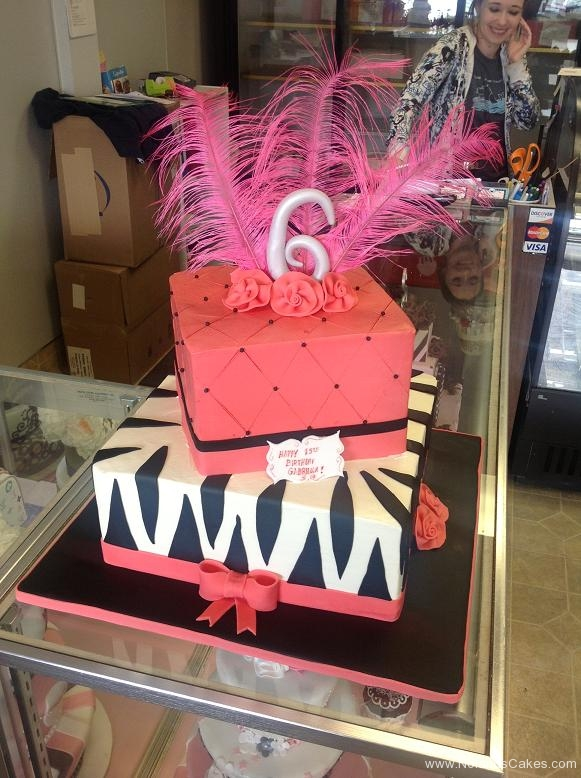 1094, 15th birthday, fifteenth birthday, zebra, tiger, stripes, pink, feather, tiered, bow, bows, flower, flowers