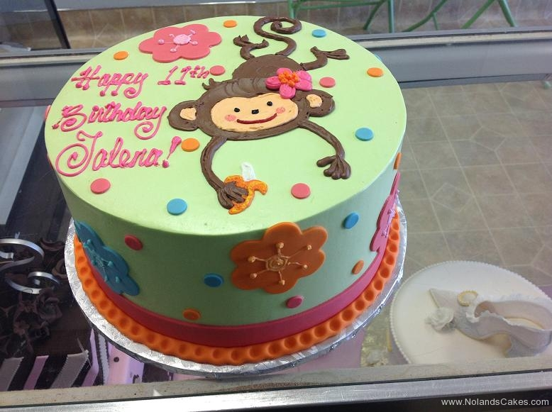 1145, 11th birthday, eleventh birthday, monkey, flower, flowers, blue, orange, pink