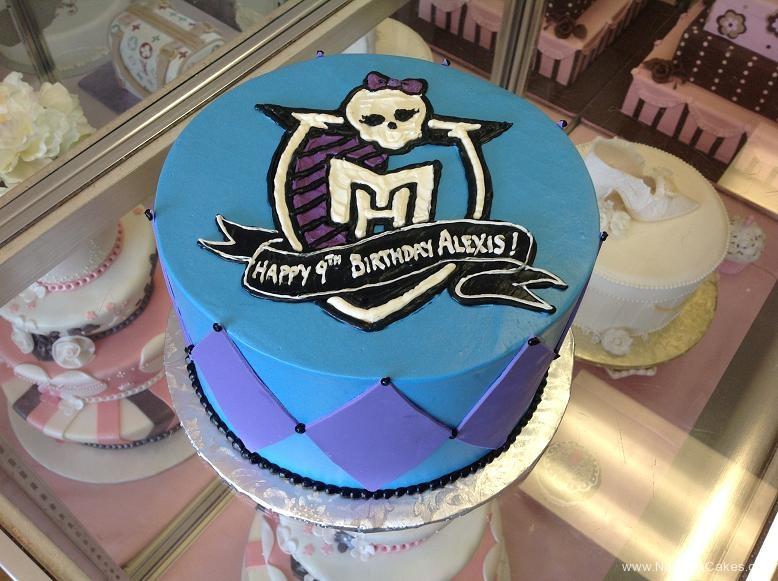 1150, 9th birthday, ninth birthday, monster high, skull, pink, diamond, blue purple, black, crest