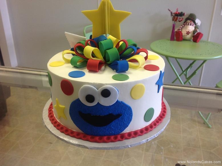 1211, 3rd birthday, third birthday, bright, primary, red, blue, green, yellow, elmo, cookie monster, sesame street, star, stars, face