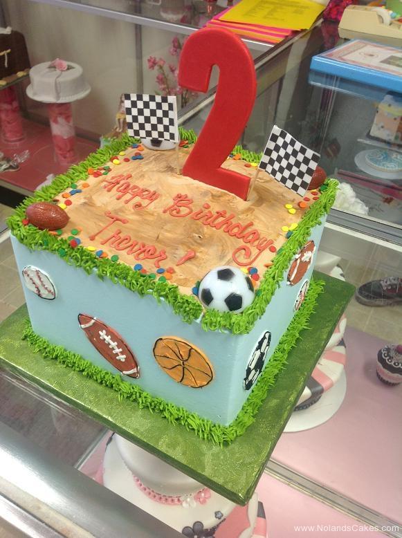 1220, second birthday, 2nd birthday, sports, baseball, football, basketball, soccer, flag, blue, green, grass, dirt, brown