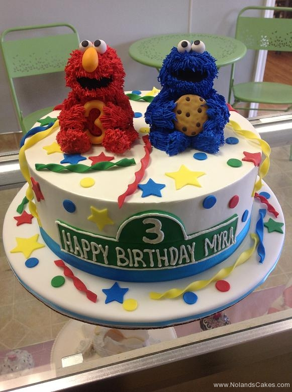 1265, 3rd birthday, third birthday, sesame street, elmo, cookie monster, bright, primary, green, yellow, blue