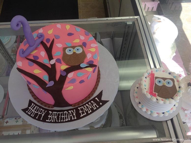 1275, first birthday, 1st birthday, owl, tree, pink, black, pastel, smash cake