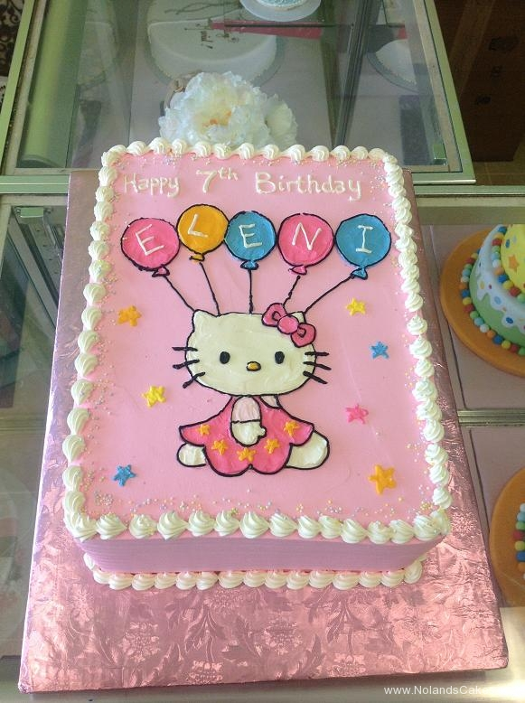 1307, 7th birthday, seventh birthday, hello kitty, balloon, balloons, pink, star, stars