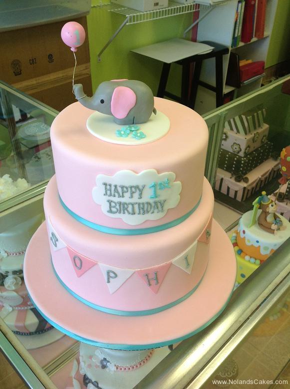 1350, first birthday, 1st birthday, elephant, pink, blue, white, balloon, balloons