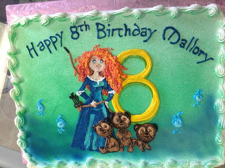 1360, 8th birthday, eighth birthday, brave, merida, disney, princess, bears, bear, cubs, blue, yellow