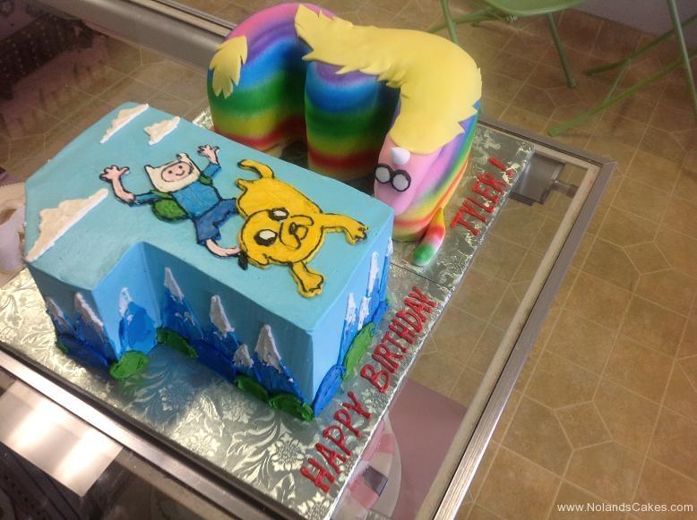 1368, thirteenth birthday, 13th birthday, adventure time, finn, jake, lady rainicorn, rainbow, blue, sky, mountains, carved