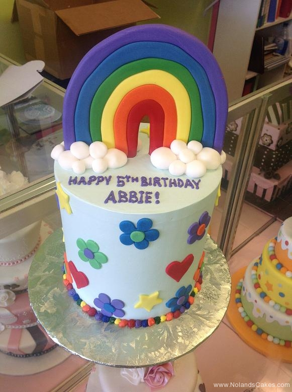 1372, fifth birthday, 5th birthday, rainbow, clouds, cloud, flower, flowers, heart, hearts, bright, primary, blue