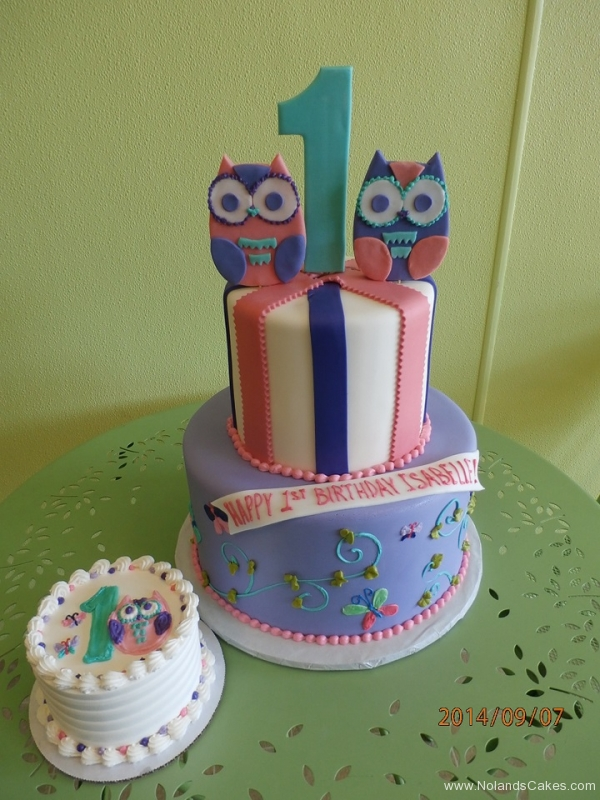 1633, first birthday, 1st birthday, owl, owls, pink, purple, blue, swirls, swirl, smash cake