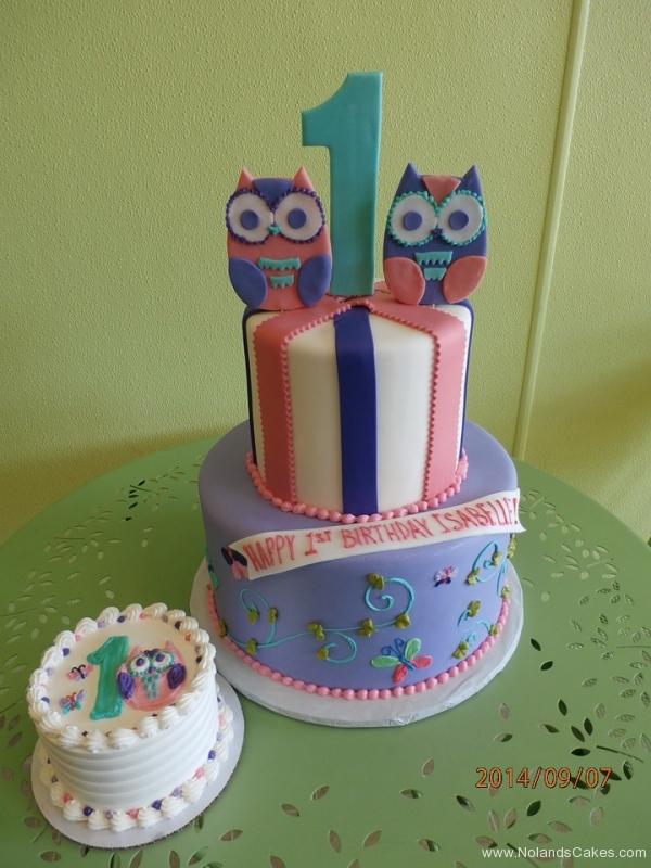 1633, first birthday, 1st birthday, owl, owls, pink, purple, blue, swirls, swirl, smash cake